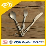 camping hiking Three piece Titanium Cutlery spork with carabiner